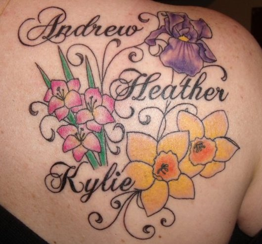 Flowers pictures with names for kids celebrity image gallery for Name tattoos for kids