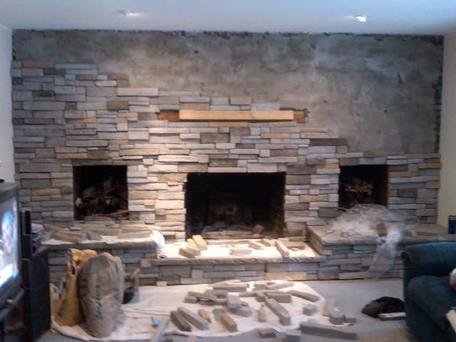 Refacing a large brick fireplace Hackettstown NJ