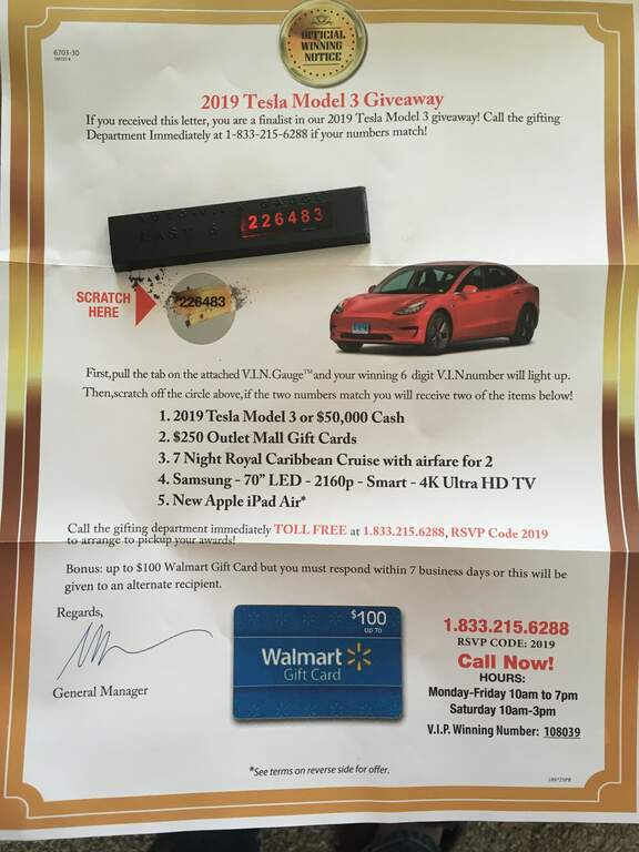Did anyone else win a Tesla Model 3 in the mail